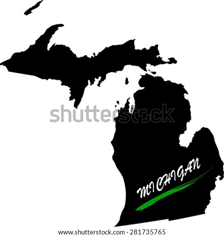 Michigan map vector in black and white background, Michigan map outlines in a new design - stock vector