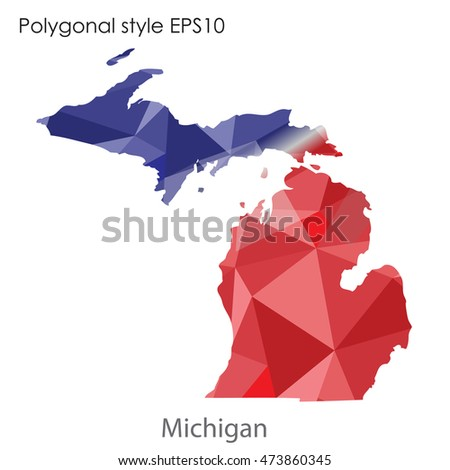 Michigan state map in geometric polygonal,mosaic style.Abstract gems triangle,modern design background. Vector illustration EPS10