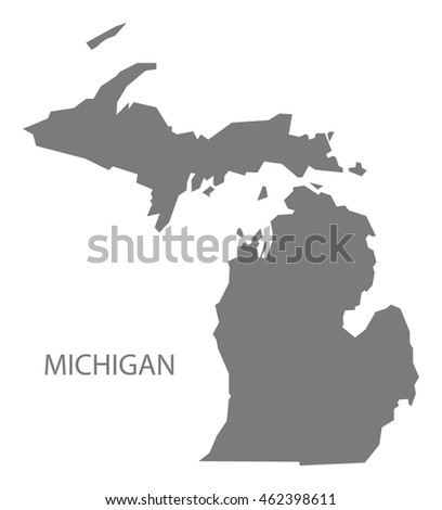 Michigan USA Map in grey