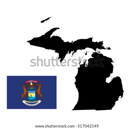 Michigan Vector Map Isolated On White Stock Vector - Us map white silhouette