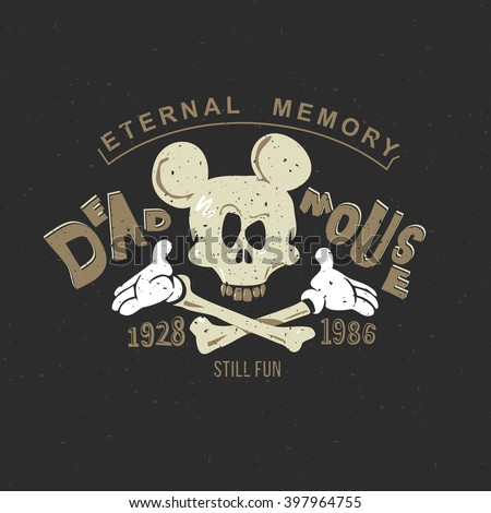 Mickey Mouse is a funny vintage drawing for clothing, printing on a T-shirt or tattoo: an animated skull of a mouse skeleton. On a black background, Mickey's head.