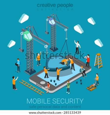 Micro people installing huge shield on smartphone. Flat 3d web isometric mobile online safety data protection secure connection cryptography antivirus firewall internet security infographic concept. - stock vector