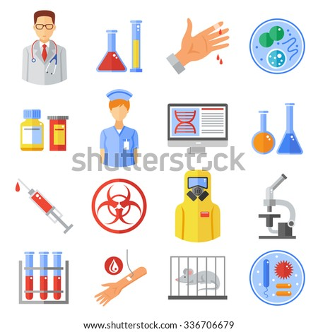 Microbiology icons set with research experiments and bio weapon symbols flat isolated vector illustration  - stock vector