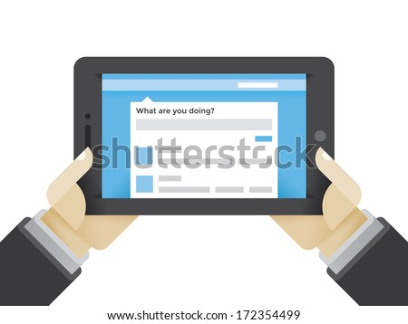Microblogging service on tablet computer in businesshuman hands. Idea - Microblogging and Social Networking services in modern business.