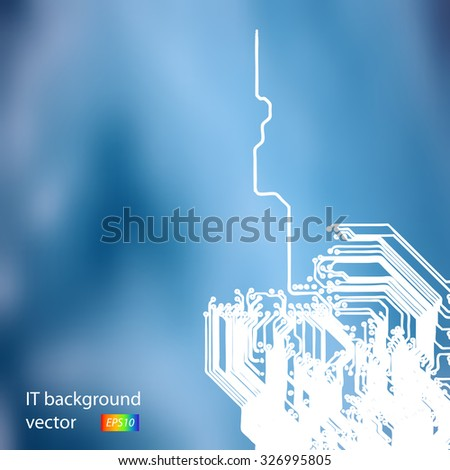 Microchip background - close-up of electronic circuit board with processor - stock vector