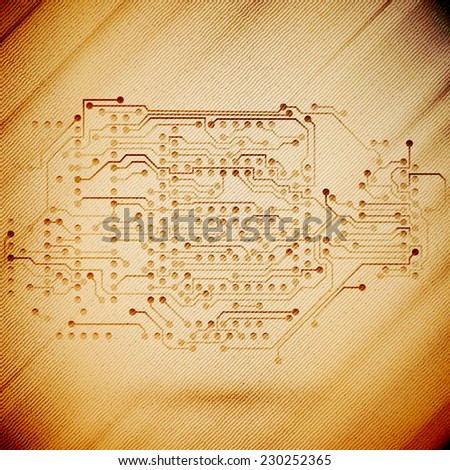 Microchip background, electronics circuit, wooden design vector illustration. - stock vector