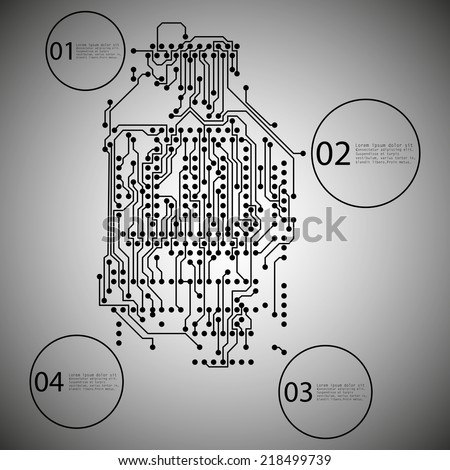 Microchip background, infographic design of an electronic circuit, EPS10 vector illustration. - stock vector