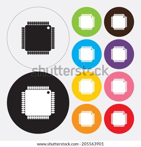 Microchip icon - Vector - stock vector