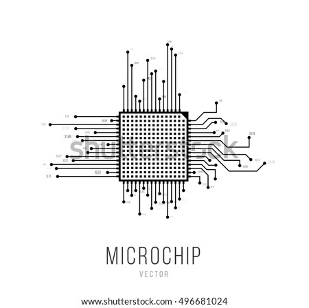 microchip microprocessor icon eps10 vector illustration
