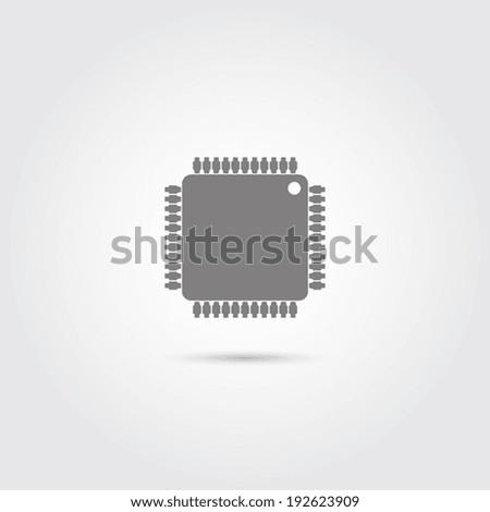 Microchip web icon - Vector - stock vector