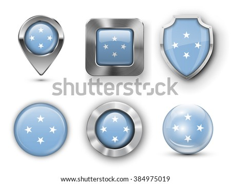 Micronesia Metal and Glass Flag Badges, Buttons, Map marker pin and Shields. Vector illustrations - stock vector