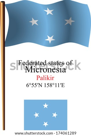 micronesia wavy flag and coordinates against white background, vector art illustration, image contains transparency