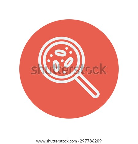 Microorganism under magnifier thin line icon for web and mobile minimalistic flat design. Vector white icon inside the red circle - stock vector