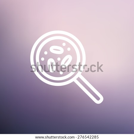 Microorganisms under magnifier icon thin line for web and mobile, modern minimalistic flat design. Vector white icon on gradient mesh background. - stock vector