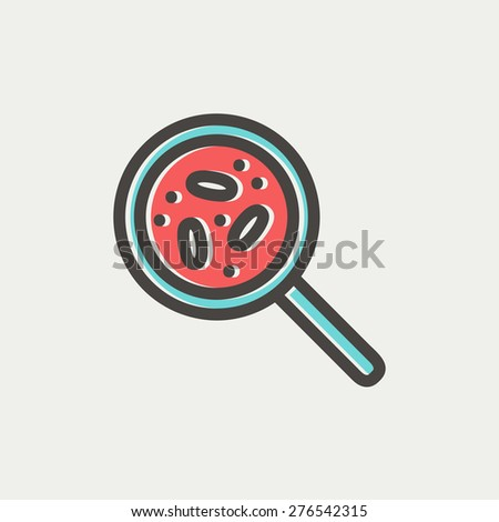 Microorganisms under magnifier icon thin line for web and mobile, modern minimalistic flat design. Vector icon with dark grey outline and offset colour on light grey background. - stock vector