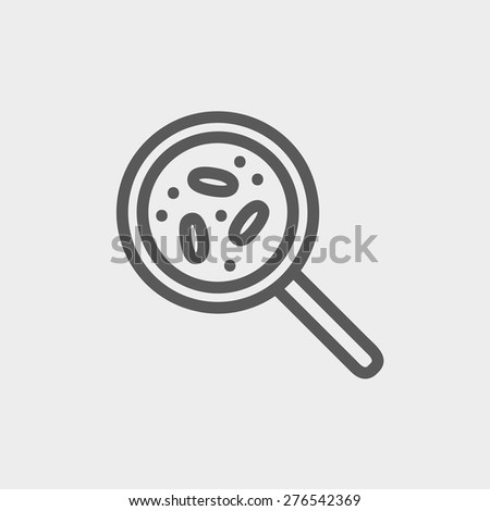 Microorganisms under magnifier icon thin line for web and mobile, modern minimalistic flat design. Vector dark grey icon on light grey background. - stock vector