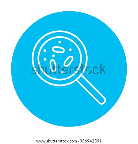 Microorganisms under magnifier line icon for web, mobile and infographics. Vector white icon on the light blue circle isolated on white background. - stock vector