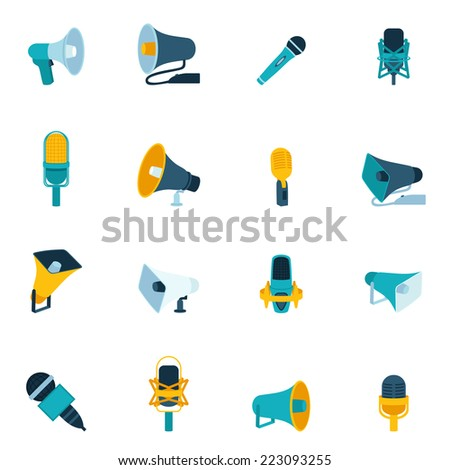 Microphone and megaphone vintage sound audio communication equipment flat icon set isolated vector illustration - stock vector