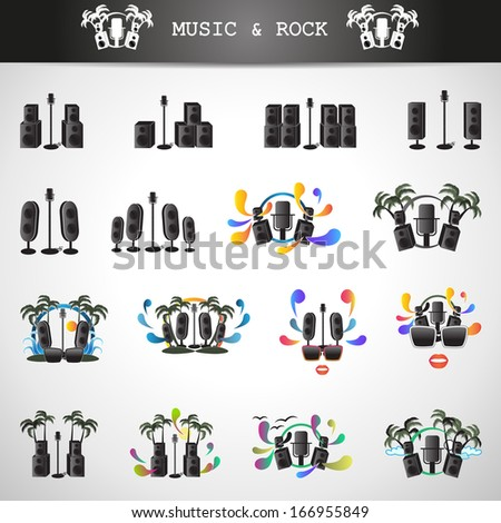 Microphone And Speakers Icons Set - Isolated On Gray Background - Vector Illustration, Graphic Design Editable For Your Design. - stock vector