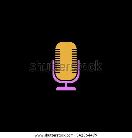 Microphone. Color vector icon on black background