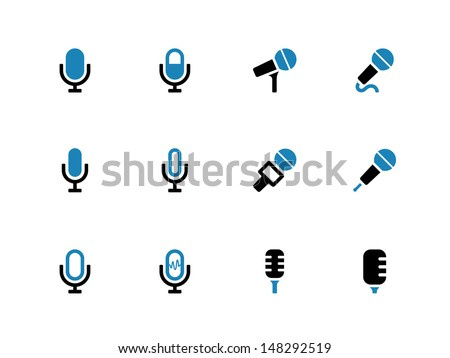 Microphone duotone icons on white background. Vector illustration. - stock vector