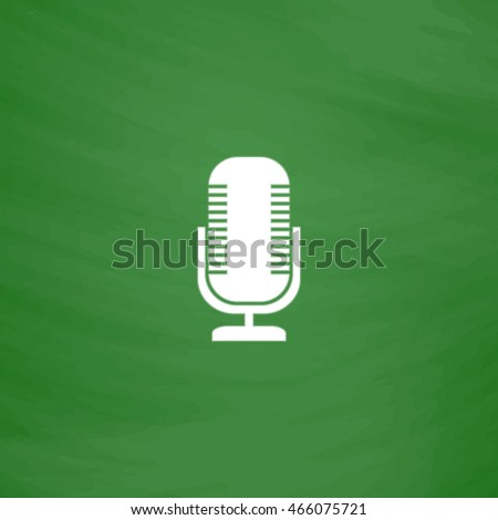 Microphone. Flat Icon. Imitation draw with white chalk on green chalkboard. Flat Pictogram and School board background. Vector illustration symbol
