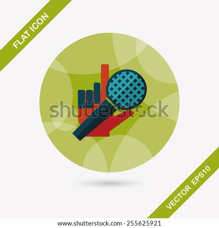Microphone flat icon with long shadow,eps10 - stock vector