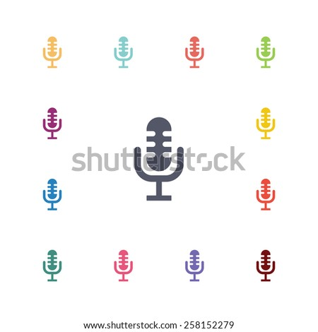 microphone flat icons set. Open colorful buttons  - stock vector