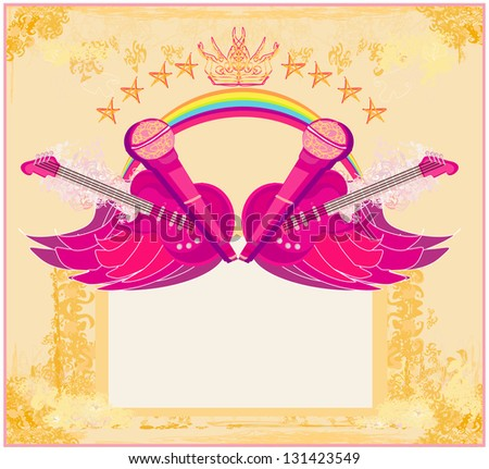 Microphone, guitar and wing motif - Abstract party design - stock vector