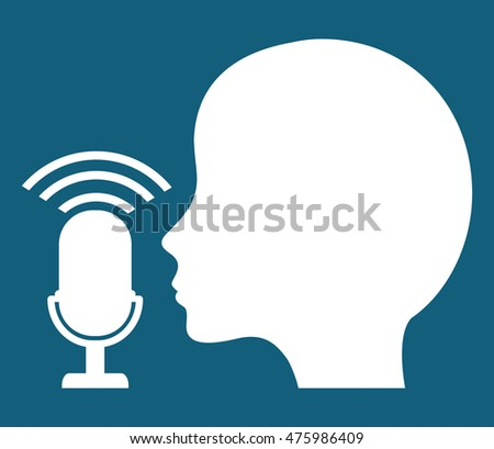 microphone head gadget tool music sound voice con. Flat design. Vector illustration
