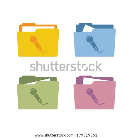 Microphone icon folder vector illustration - stock vector