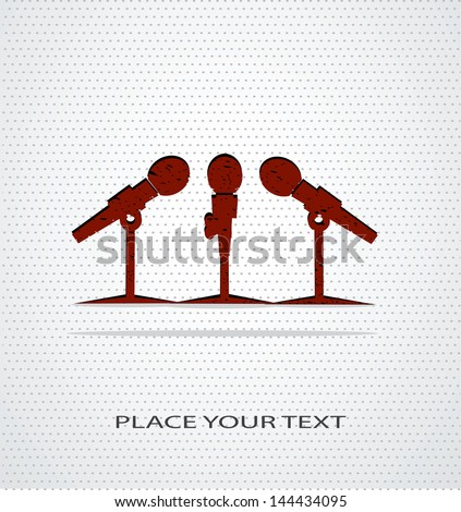 microphone icon on seamless background - stock vector