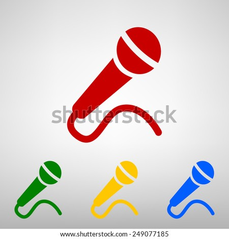 Microphone Icon on the button - stock vector