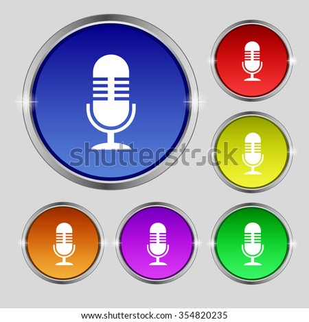microphone icon sign. Round symbol on bright colourful buttons. Vector illustration - stock vector