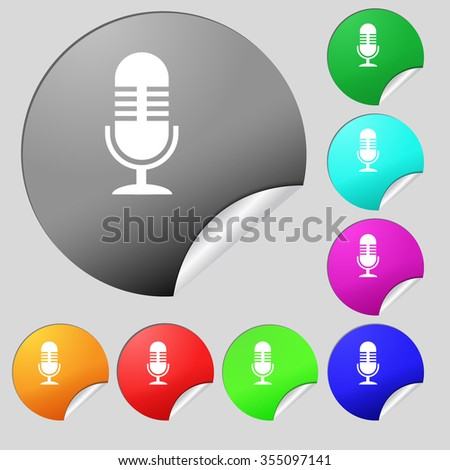 microphone icon sign. Set of eight multi colored round buttons, stickers. Vector illustration - stock vector