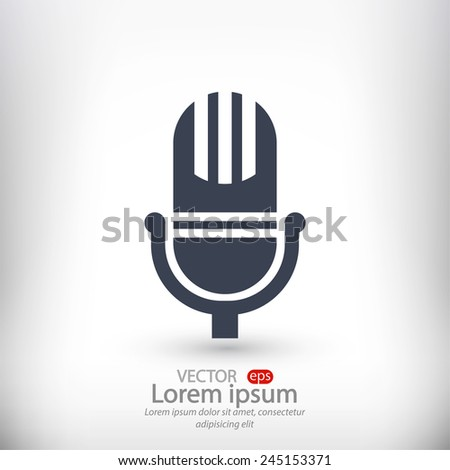 Microphone icon, vector illustration. Flat design style - stock vector