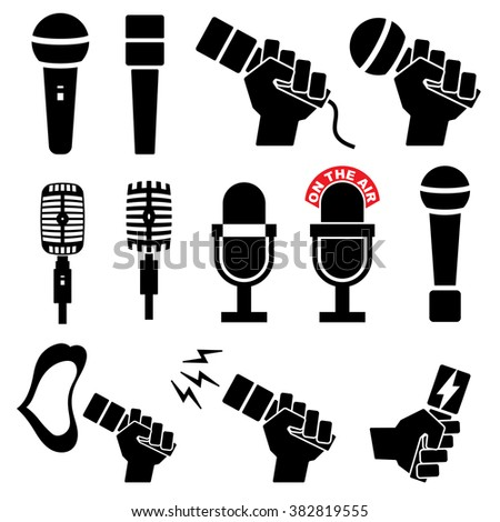 Microphone icons set on white background - stock vector
