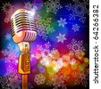 microphone in the colored lights & snowflakes - stock vector