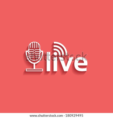 microphone, live, flat icon isolated on a red background for your design, vector illustration - stock vector