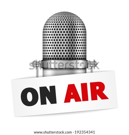 Microphone on air, vector eps10 illustration - stock vector