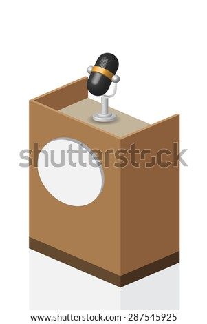 microphone on brown Podium on stage, illustration, vector.