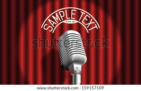 microphone on curtain - stock vector