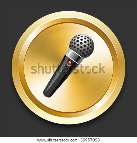 Microphone on Golden Internet Button Original Illustration - stock vector