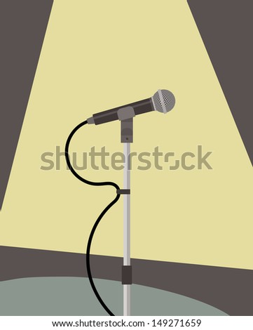 microphone on stand, stage light