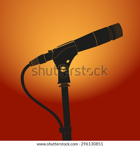 Microphone on vintage sunburst background