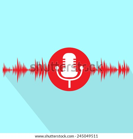 microphone red icon with sound wave flat design vector illustration - stock vector