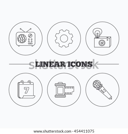 Microphone, retro camera and photo icons. Vintage radio linear sign. Flat cogwheel and calendar symbols. Linear icons in circle buttons. Vector