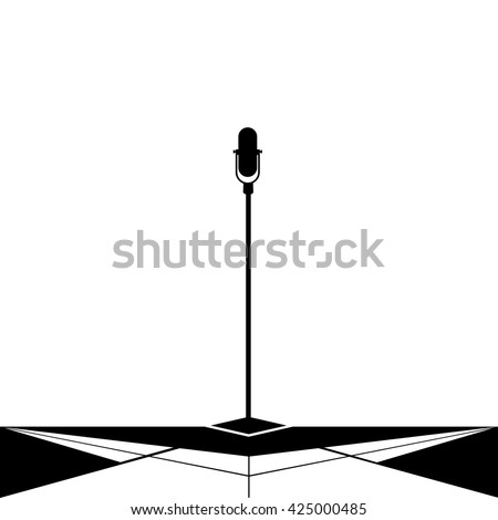 Microphone silhouette isolation - stock vector