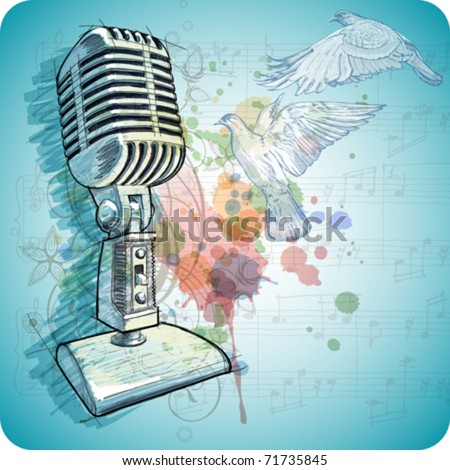 Microphone sketch, music sheets & flying doves on the color paint background of stylized ornament & orchid flowers. Eps10 - stock vector