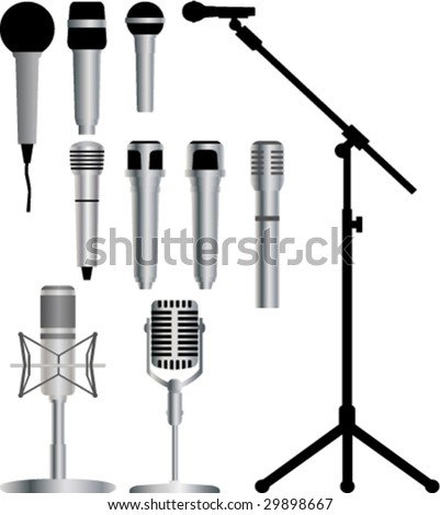 Microphone vector collection - stock vector